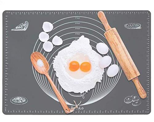 DeCuLo rutschfeste Backunterlage/Backmatte Silikon Groß 70x50cm Ausrollmatte Teigmatte Silikonmatte Backfolie Arbeitsmatte mit Messung für Fondant Gebäck Pizza Matte,BPA Frei