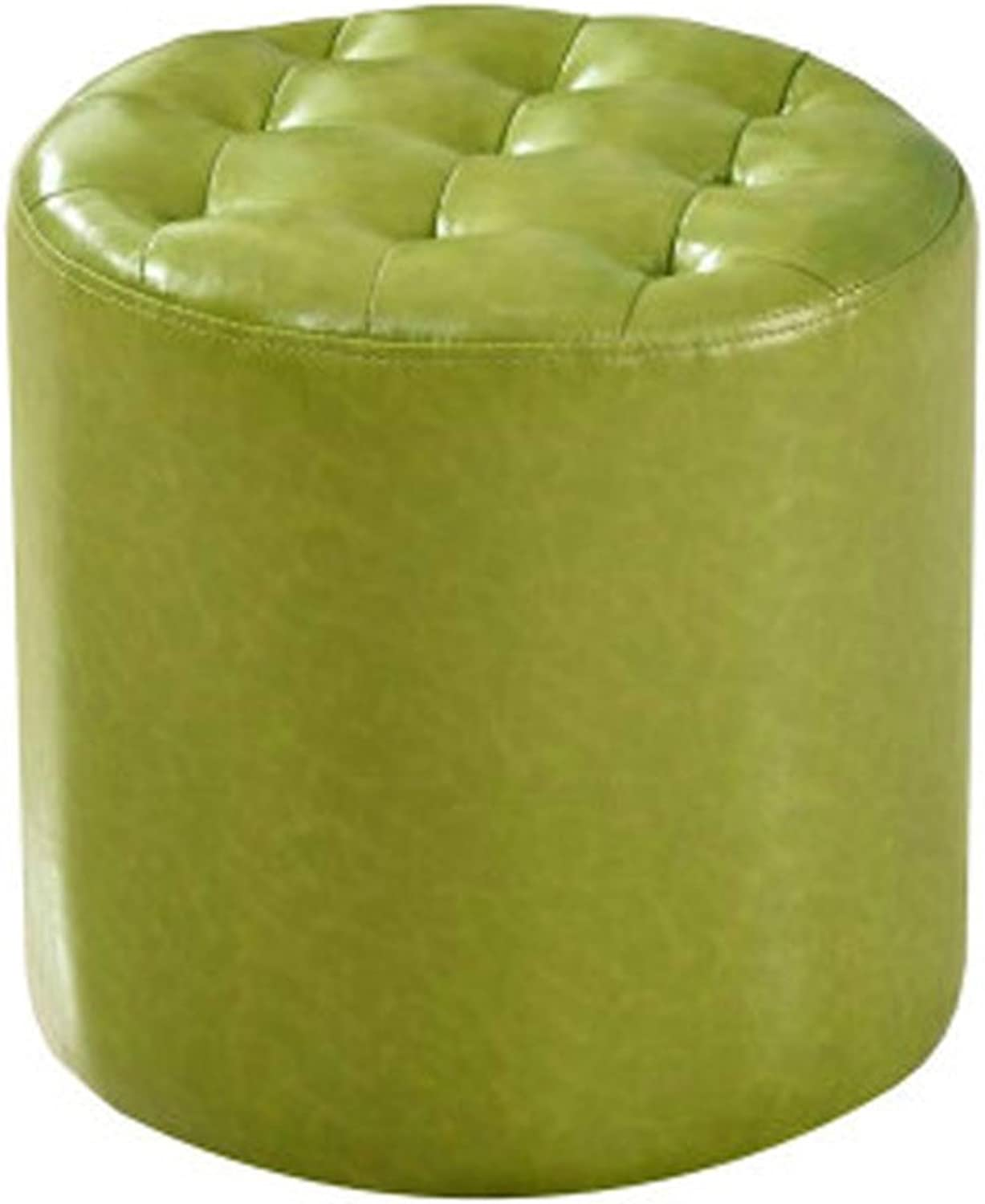 Leather Stool Sofa Stool Leather Stool Square Stool shoes Bench Coffee Table Stool Living Room Small Stool Makeup Stool(Green) 0520 (color   Round)