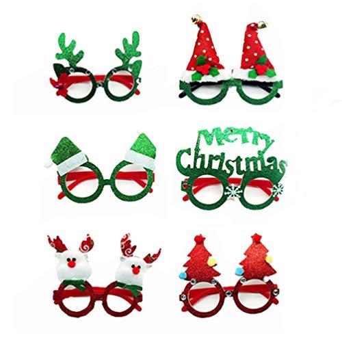 STOBOK 6 Gafas de Navidad Divertidas Gafas de Disfraz de rbol de Navidad de Ciervos mscara Gafas para Cosplay Carnaval Fiesta