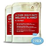 JJ Care Welding Blanket (Pack of 2) Premium (4x6 ft) Heavy Duty (850 GSM Thick) Fiberglass, Fire Retardant, Welding Curtain Cover, Welding Shield, Fire Blanket, Fireproof, Thermal Resistant Insulation