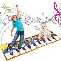 elfishjp 音楽マット ピアノミュージックマット 子供用ピアノ 鍵盤楽器の玩具 マット 10鍵 8種類の楽器内蔵折畳 スピーカー搭載 デモモード 触感ゲーム 知育玩具 お誕生日 出産祝いのプレゼントード 触感ゲーム 知育玩具 お誕生日 出産祝いのプレゼント