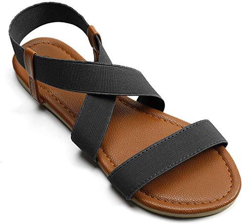 Soles & Souls Black Elastic Ankle Strap Sandals for Women Flat Size 09