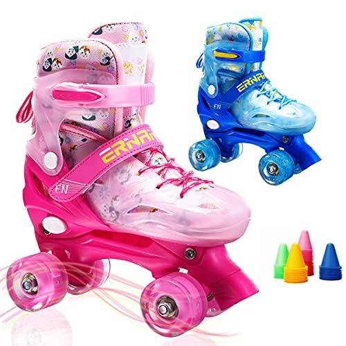 Boys Girls Adjustable Speed Quad Roller Skates with Flash Light Up Wheels Skate Shoes for Kids Children (Blue, Small)