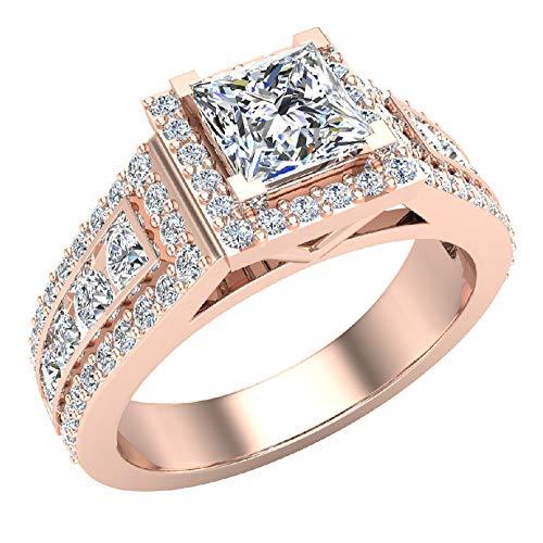 Glitz Design Mujer Niños Hombre Unisex oro 14 quilates (585) oro rosa 14ct talla princesa Round Brilliant G-H Diamond
