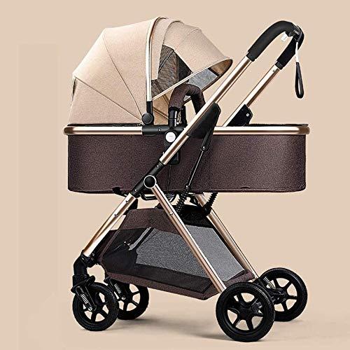 Puppenwagen Kinderwagen 360 Drehfunktion, Compact Luxus-Kinderwagen, Hoch Landschaft Pram, zusammenklappbares Optional Kinderwägen Babyartikel (Color : A)