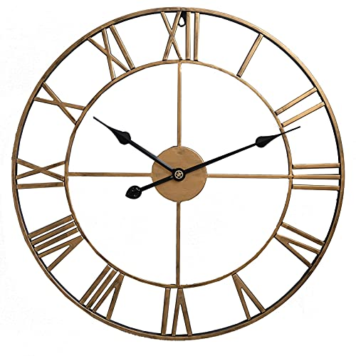 Romellar Reloj de pared silencioso, estilo europeo colgante reloj decorativo, no hace tictac, reloj de pared con números romanos o cocina cafetería (dorado y negro)