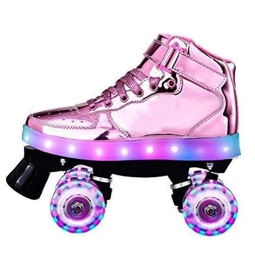 LBWNB Unisex Rollschuhe Leuchtend Roller-Skates Disco-Roller Mit Leuchtenden PU-Rädern Für Anfänger Verstellbar,Flash pink,41