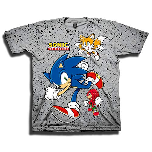 SEGA Boys Sonic The Hedgehog Shirt - Featuring Sonic, Tails, and Knuckles - The Hedgehog Trio - Official T-Shirt (Grey, X-Large)