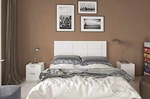 HOGAR24 ES Conjunto cabecero tapizado Blanco + 2 mesitas de Noche Color Blanco