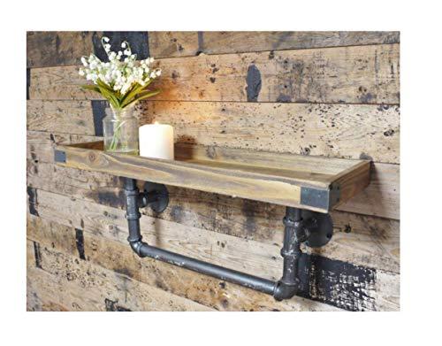 Estante de madera para pared con tubo y agarraderas de pared, de estilo urbano industrial, ancho 60cm