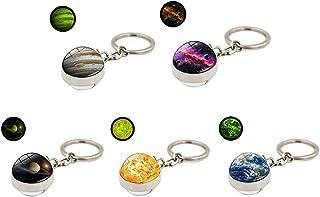 HUANGA 5pcs Lueur dans Le Noir système Solaire planète Porte-clés Galaxie nébuleuse Porte-clés Lumineux Lune Terre Soleil ...