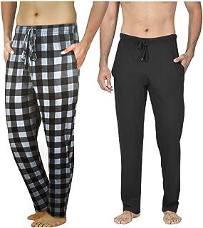 Men's Long Lounge Wear Pants Nightwear (Two Pack) Pyjama Bottoms Sleepwear (Black/Black Check, Large)