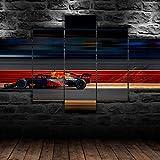 5 Piezas Material Tejido No Tejido Impresión Artística Imagen MAX Verstappen F1 Red Bull Racing Dormitorios Decoración para El Hogar -No Tejido Lienzo Impresión- Modular Poster Mural