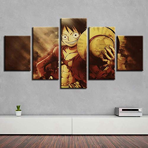 HD Prints on Canvas Picture Paintings 5 Panel Anime Monkey D. Luffy Poster Print Canvas Painting Wall Decor for Home Decor,P,30x502+30x702+30x801