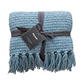 PERSUN Throw Blanket Textured Solid Soft Decorative Knitted Blankets with Fringes for Sofa Couch Home Decor, 50'x60', Silver Blue