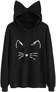 Kulywon Womens Cat Ear Solid Long Sleeve Hoodie Sweatshirt Hooded Pullover Tops Blouse