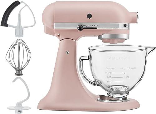 discount KitchenAid 5-Quart Tilt discount Head Stand Mixer With Flex Edge Beater high quality Glass Bowl Feather Pink sale