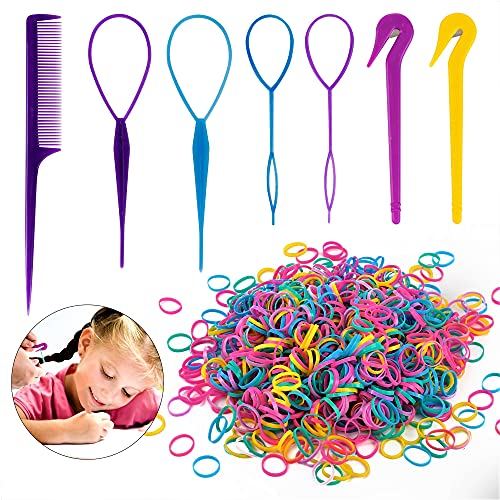 79STYLE 1000pcs Small Elastic Hair Bands 2pcs Mini Rubber Bands Remover Pony Pick cutter 4pcs Topsy Hair Tail Tools Girls French Braiding Tool Loop Ponytail Maker Hair Styling Accessories (Muti-Color Rainbow)