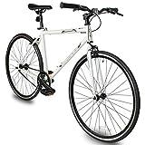 Micargi RD-269 Fixed Gear Single-Speed Hi-Ten Steel Frame Road Bike (Large-57cm, White)