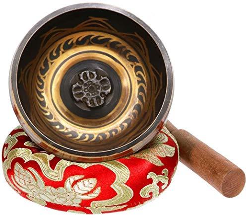 Exqline Cuenco Tibetano Hecho a Mano 11.5cm con Cojín Cosido,Cuencos Tibetanos para Meditación,La Atención Plena,Sanación del Chakra,Alivio del Estrés y la Yoga, Zen
