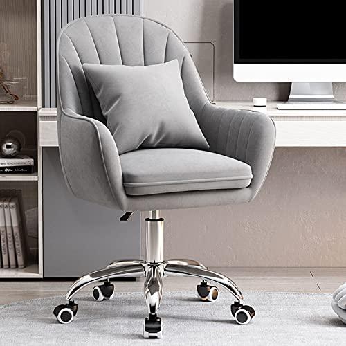 Schreibtischstuhl Bürostuhl Drehstuhl 360° Drehstuhl mit Armlehnen Verstellbare Höhe Schlafzimmerstuhl aus zartem Flanellstoff 220kg für das Home-Office Schminktisch Stuhl