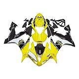 ADMOTO ABS plástico motocicleta inyección pre-taladrado agujero carenados carenados carrocería kit completo para Yamaha YZF-R1 2004 2005 2006 (amarillo+negro)