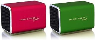 Music Angel Friendz Speaker Twin Pack Bundle for iPhone/iPad/iPod/Mp3/Laptop/Smartphone - Red/Green