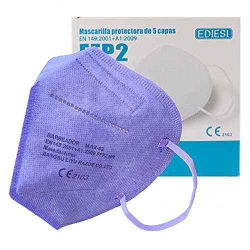 EDIESI Mascarilla FFP2 Homologada 5 capas Protección Respiratoria pack 10 unidades Morada...