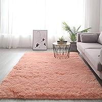 柔らかいラグ/シャギーふわふわ滑り止め心地いいカーペットモダンホーム飾りベロア絨毯に適用する子供部屋寝室リビングルーム-160バツ230cm(63バツ91インチ)-オレンジピンク