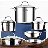 HOMI CHEF 10-Piece Nickel Free Stainless Steel Cookware Set Copper Band - Nickel Free Stainless...