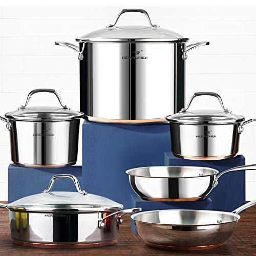 HOMI CHEF 10-Piece Nickel Free Stainless Steel Cookware Set Copper Band – Nickel Free Stainless Steel Pots and Pans Set – Healthy Cookware Set Stainless Steel – Non-Toxic Induction Cookware Sets