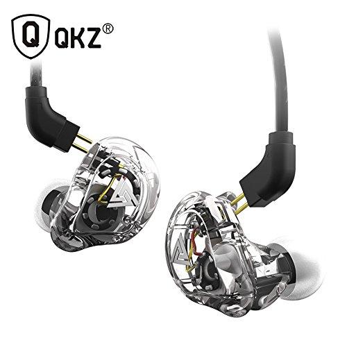 Moniel QKZ VK1 3.5mm Auriculares con Cable Bobina móvil Doble 4DD Auriculares Deportivos intrauditivos Auriculares estéreo de música Control en línea con micrófono Cable reemplazable Desmontable