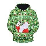 Loeay Herren Hoodie Sweatshirt Pullover Pullover Weihnachten Herbst Und Winter Bart Alter Mann 3D Gedruckt Loose Fit Paare Männer L61001XXL