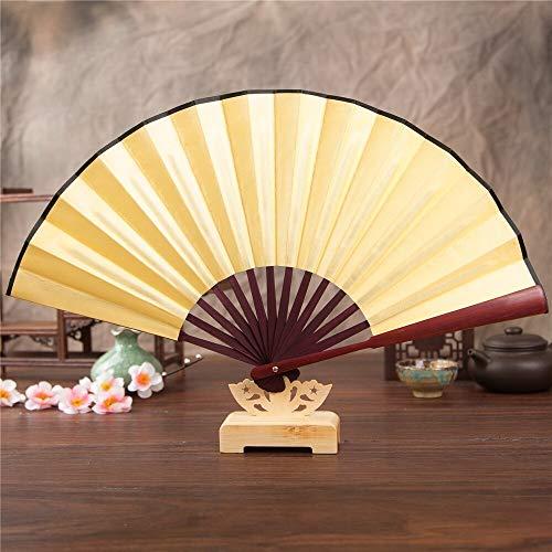 XINTIAN Abanico de mano de color sólido de encaje chino plegable de seda abanico blanco negro rojo...
