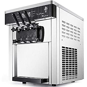 VEVOR Commercial Ice Cream Machine 5.3 to 7.4Gal per Hour Soft Serve with LED Display Auto Clean 3 Flavors Perfect for Restaurants Snack Bar 2200W Silver