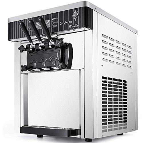 VEVOR Commercial Ice Cream Machine 5.3 to 7.4Gal per Hour Soft Serve with LED Display Auto Clean 3 Flavors Perfect for Restaurants Snack Bar, 2200W, Silver