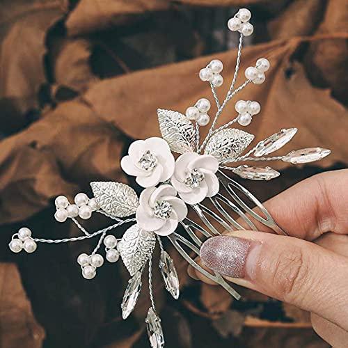 Aukmla Peineta para novia con flores plateadas y perlas de cristal, para...