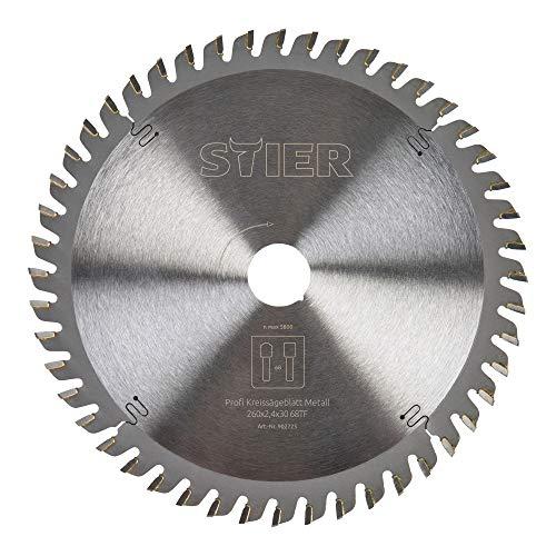 STIER Kreissägeblatt Profi, Metall, 260 x 2,4 x 30 mm, 68 Zähne, für verschiedene Materialien z.B. Alu-/Stahlbleche