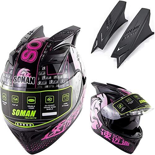 ZHXH Motorradhelm für Erwachsene, Männer und Frauen Four Seasons Abnehmbarer doppelseitiger, stoßfester Helm, dot-zertifiziert, eine Vielzahl von optionalen,