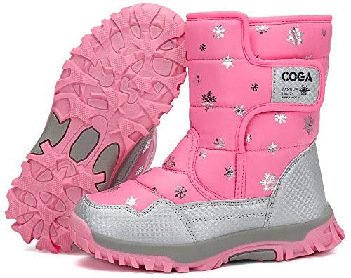 Mishansha Mädchen Winterstiefel Kinder Winterboots Warm Gefütterte Schneestiefel Mädche rutschfeste Klettverschluss Outdoor Winter Schuhe Pink 27