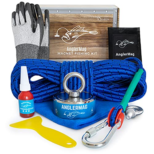 AnglerMag Magnet Fishing Kit, Strong Combined 1250 lb Double Sided Magnetic Fishing Kit with Rope, 9 Piece Complete Set, Fishing Magnet Kit for Salvage & Treasure Hunting in Rivers, Oceans & Lakes