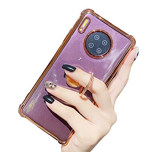 Suhctup Coque Compatible pour Huawei Mate 30 Pro avec Support,Etui Case Transparent Silicone TPU Gel [Angles Renforcés] Antichoc Housse Cover avec 360° Support de Voiture Magnetique,Or Rose