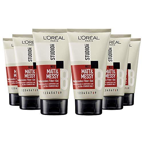 L'Oréal Paris Studio Line Matt & Messy Mattierendes Fiber-Gel, Styling-Gel für natürliche und zerzauste Strubbel-Looks, 6 x 150 ml