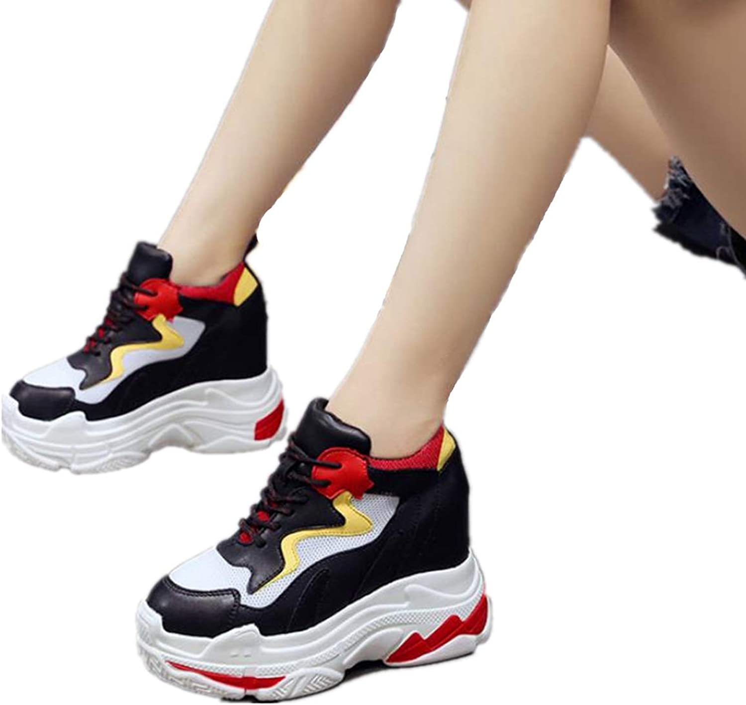 SANOMY Women Casual Wedges Sneaker High Heels Walking shoes Comfortable Platform Thick Sole Trainers Sneakers