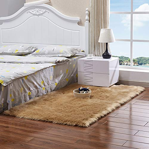 Heze Teppich, quadratisch/rechteckig, aus Wolleimitat, für Schlafzimmer, Erkerfenster, Wohnzimmer, Plüsch