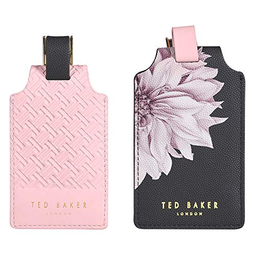 Ted Baker Luggage Tags Set, Faux Leather, Black/Pink, One size