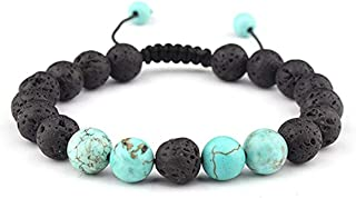 LALANG Lava Rock Stone Essential Oil Anxiety Diffuser Adjustable Bracelet Unisex with Turquoise