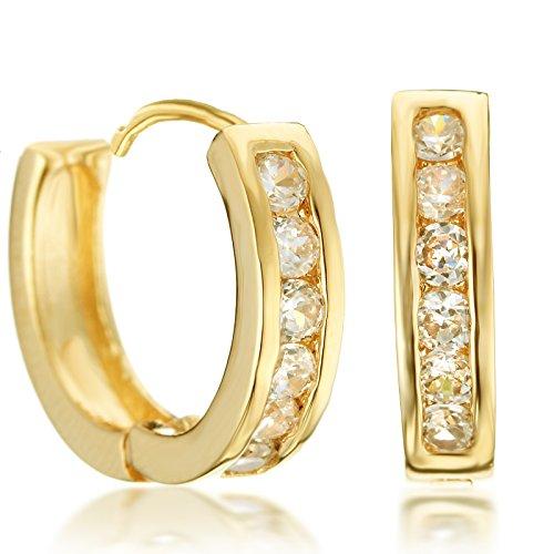 Gemini Creolen (Gelb Gold), attraktive Glitzer & Strass Elemente mit Kristall Steinen, Luxus Design, Rundform, für jeden Anlass, beliebt bei Girls & Damen, 0,6 cm Durchmesser