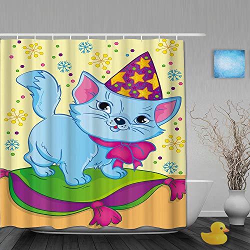 AYISTELU Cortina de Baño,Libro para Colorear y Dibujos Animados de Gato con Gorro de Navidad para niños Colorido Copo de Nieve,Cortinas de Ducha con 12 Ganchos de plástico 180 * 180cm