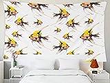 Tapiz grande para colgar en la pared, tapices Deacutecor, sala de estar, dormitorio para el hogar, por impreso para con peces escalares tropicales, ilustración en acuarela, acuario dibujado a mano exó